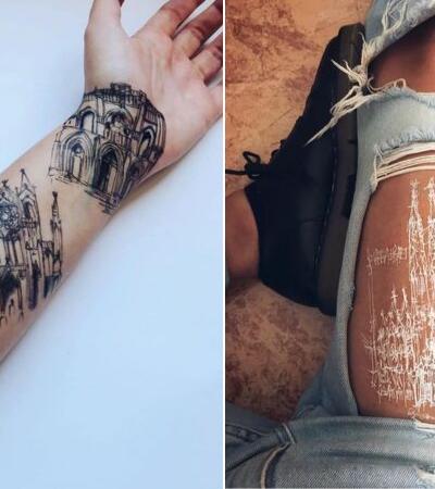 Artista usa seu próprio corpo como tela para seus esboços de arquitetura