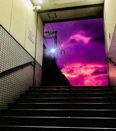 Este lindo céu roxo no Japão era na verdade um alerta de perigo