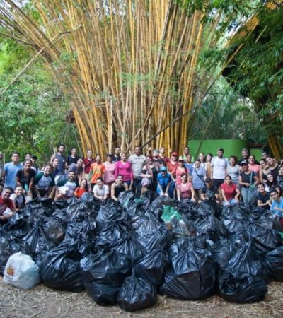 Brasileiros e venezuelanos unem forças para coletar 1 tonelada de lixo de igarapé
