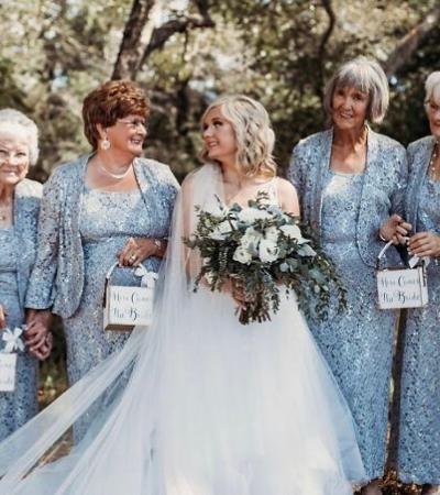 Noiva toma a melhor decisão ao optar por ter as quatro avós como madrinhas