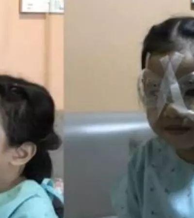 Menina de 4 anos faz cirurgia nos olhos devido a uso excessivo do celular