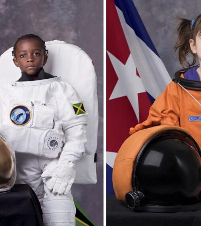 Crianças do mundo vestidas de astronauta lembram que nem o céu é limite para um sonho