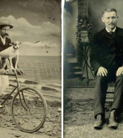 Fotos vintage de homens posando com seus cães no século 19