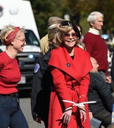 Jane Fonda, de 81 anos, é presa DE NOVO em protesto contra aquecimento global