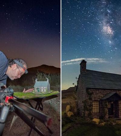 Ele cria incríveis miniaturas para fotografar com a Via Láctea ao fundo