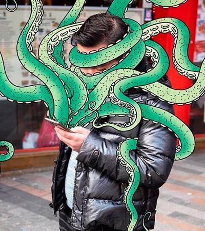 Artista ilustra pessoas sendo sugadas para smartphones por monstros digitais