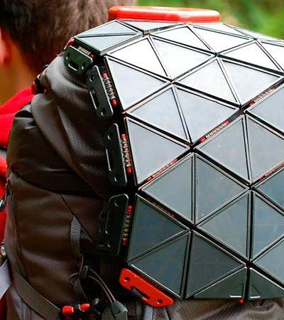 Painel solar portátil e flexível pode ser acoplado a mochila ou qualquer superfície