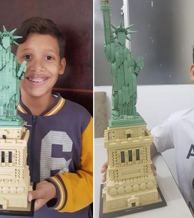 Garoto autista constrói Estátua da Liberdade de Lego em 5 horas