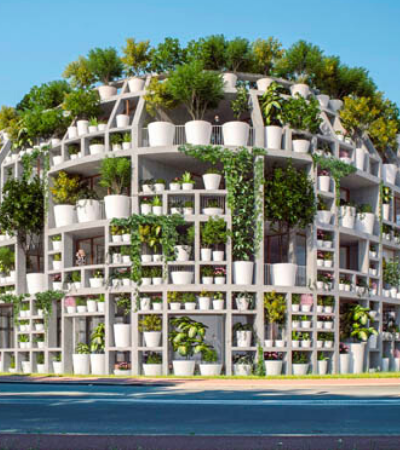 O incrível projeto de prédio sustentável coberto por centenas de vasos de plantas