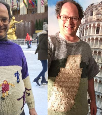 Homem tricota incríveis suéteres de paisagens e visita estes lugares enquanto os veste