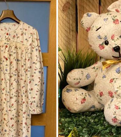 Artista cria 'ursinho da memória' com retalhos de roupas de pessoas queridas