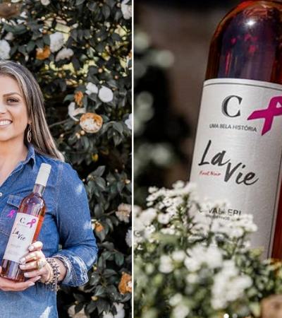 Ela criou um rótulo de vinho inspirado na vitória contra o câncer