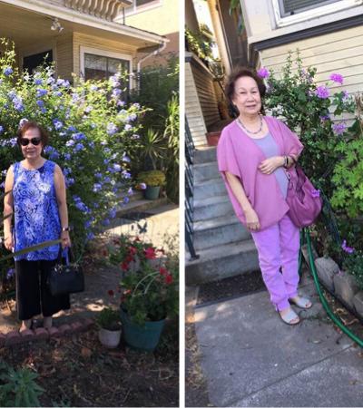 Vovó estilosa combina lookinhos com flores do jardim e viraliza