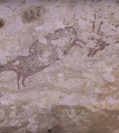 """Pintura encontrada recentemente em caverna da Indonésia pode ser a mais antiga """"história"""" contada do mundo"""