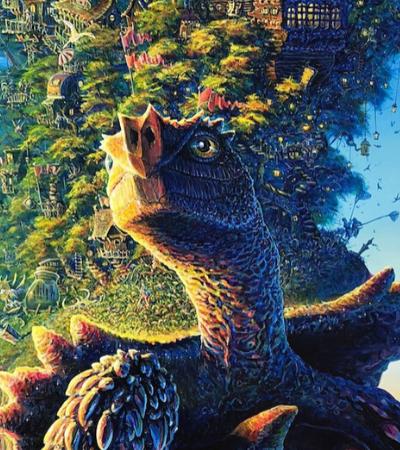Artista pinta tartaruga que carrega ecossistema nas costas e convida público a encontrar objetos escondidos