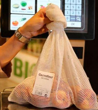 Carrefour substitui sacolas plásticas por redes de algodão