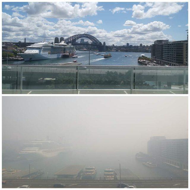 Sydney antes e depois dos incêndios na Austrália
