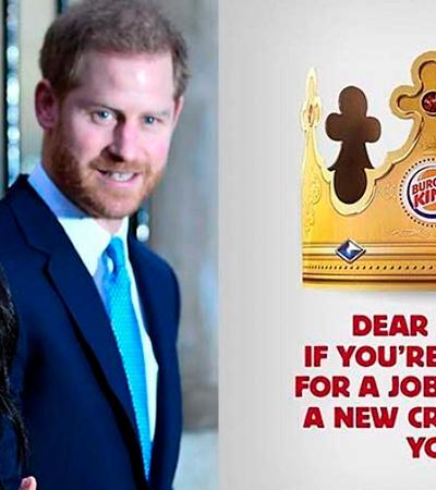 Burger King oferece vaga de trabalho para Harry e Meghan