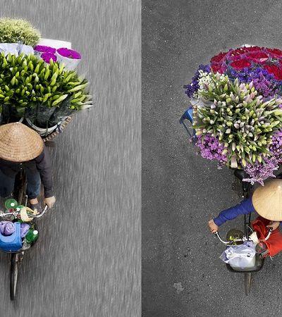 Fotógrafa passa horas em cima de ponte e clica colorido de vendedores de flores e frutas
