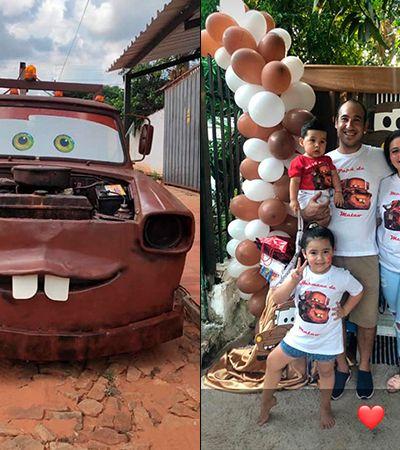 No aniversário do filho, pai transforma caminhonete em personagem de 'Carros'