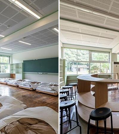 Hostel instalado em antiga escola usa salas de aula como quartos e biblioteca como sala de jantar