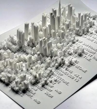 Paisagens de texto impressas em 3D discutem sobre transformação urbana