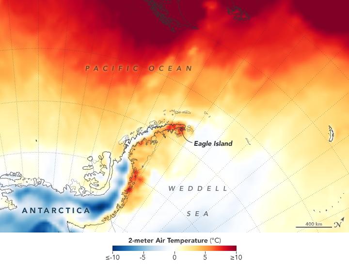 Mapa da Antártica mostra que a maior parte do continente registrava temperaturas entre -10ºC e -5ºC, embora algumas regiões próximas à costa tivessem temperaturas acima de 10ºC
