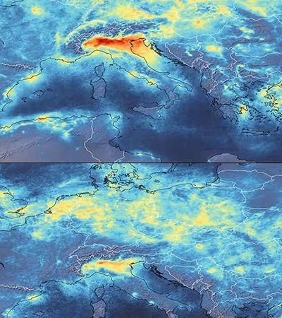Coronavírus: imagens mostram mudanças impressionantes no céu da Itália