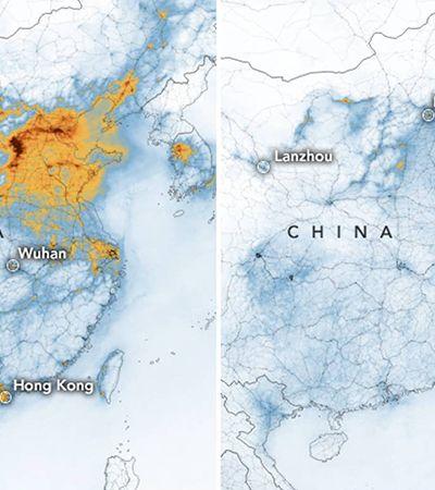 Coronavírus: imagens de satélite mostram queda na poluição com indústrias paradas China