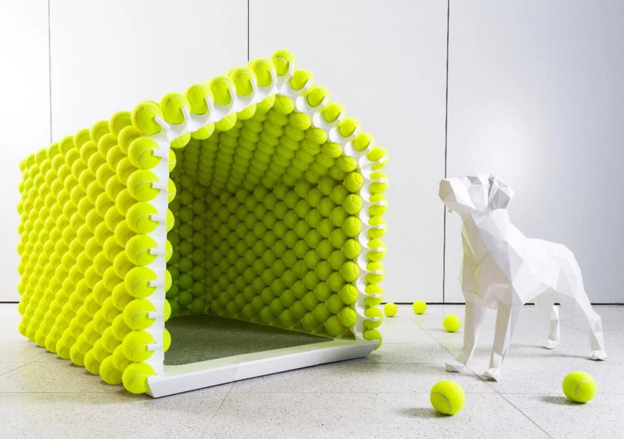 casa de cachorro bola de tênis 2
