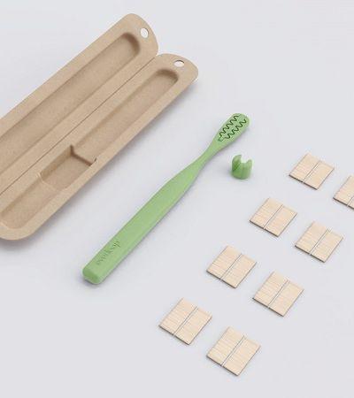 Escova de dentes super sustentável tem cerdas de bambu substituíveis