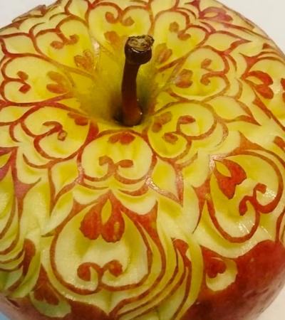 Artista esculpe incríveis padrões em frutas e legumes
