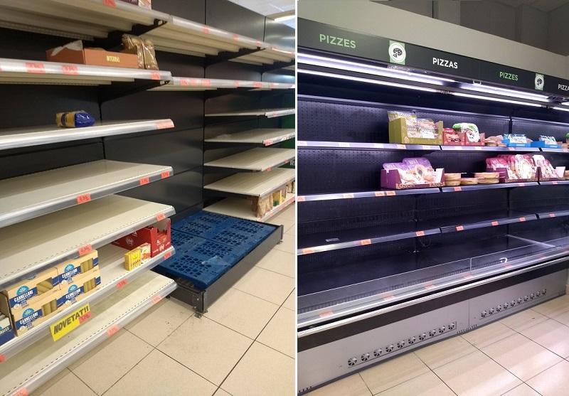 Prateleiras vazias nos supermercados da Espanha dias antes do início da quarentena