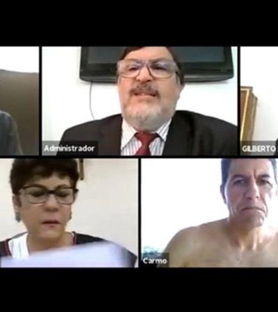 Desembargador esquece de câmera e aparece sem camisa em reunião online