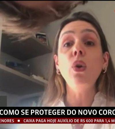 Filho de infectologista rouba a cena ao subir em móvel durante entrevista para Globo News