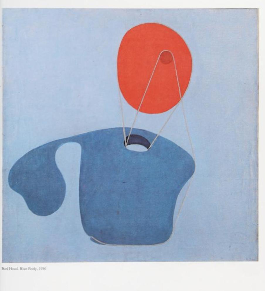 Quadro abstrato pintado por de Méret nas cores azul e vermelho