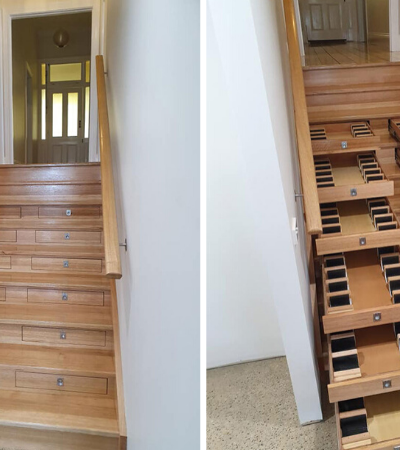 Ele transformou esta escadaria em adega em apenas uma semana usando gavetas
