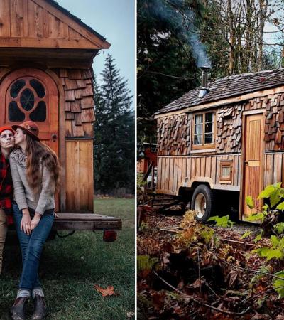 Eles estão mantendo isolamento social numa casa móvel em meio à natureza