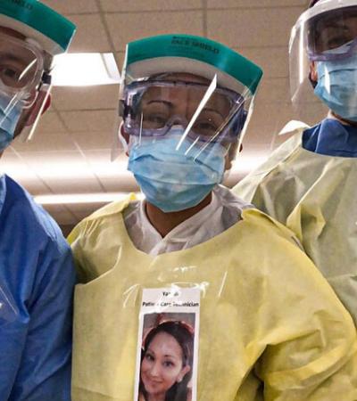 Médicos colocam fotos em roupas de proteção para humanizar atendimento a coronavírus