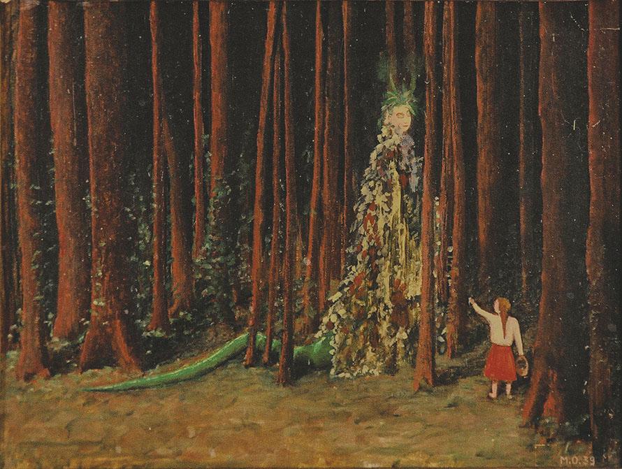 Pintura em que uma menina conversa com uma mulher mágica com rabo de lagarto no meio de um bosque