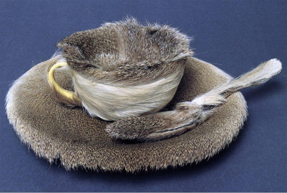 Xícara, pires e colher de chá cobertos por pele animal