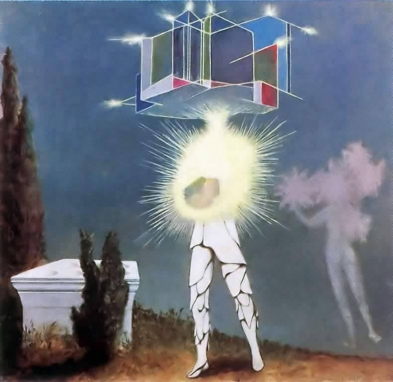 Figura com a parte inferior do corpo humana, o tronco substituído por uma explosão brilhante e múltiplos cubos sobre a cabeça ao lado de um túmulo