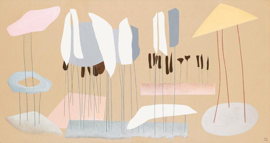Quadro surrealista de Méret em tons pasteis