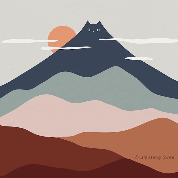 paisagens minimalistas com gatos 2