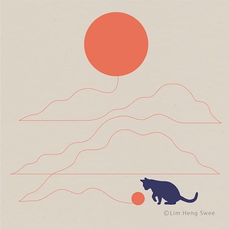 paisagens minimalistas com gatos 4