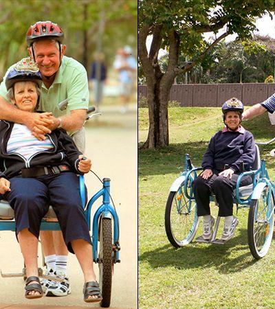 Ele construiu uma bicicleta adaptada para pedalar com a esposa que tem alzheimer