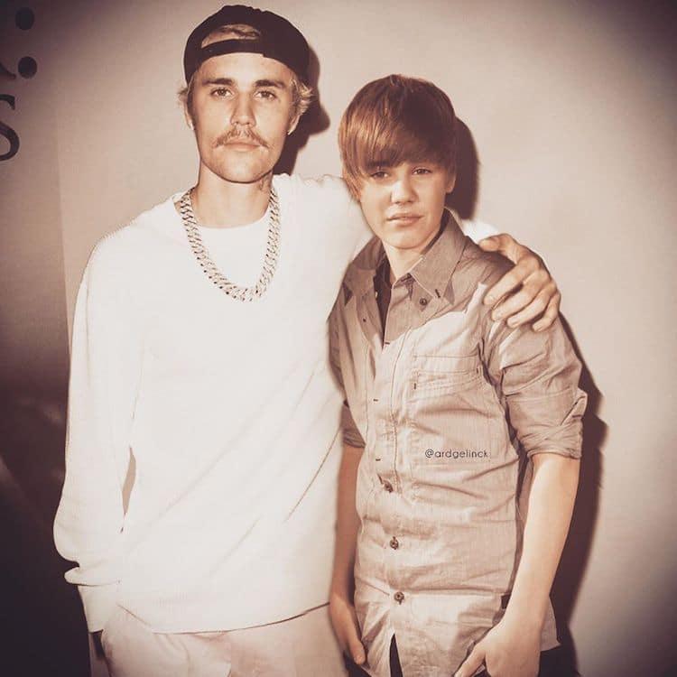 Antes e depois de Justin Bieber