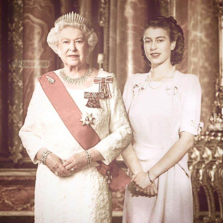Antes e depois de Rainha Elizabeth II