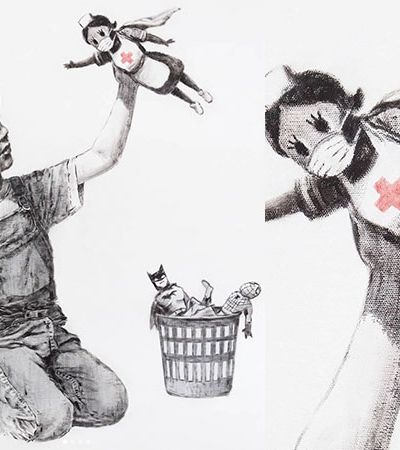 Coronavírus: Banksy coloca super-heróis no cesto em homenagem para enfermeiras