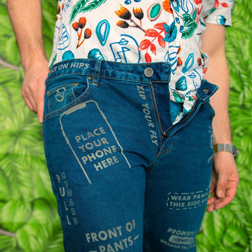 jeans com instruções